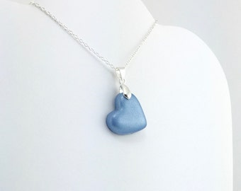 Light Ultramarine Heart Pendant - Simple Clay Heart Necklace - Blue Heart Necklace  - Wedding Jewelry, Bridesmaid Necklace - MADE to ORDER