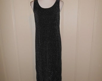 90s black maxi dress, stretchy, sparkly, long dress, grunge, punk