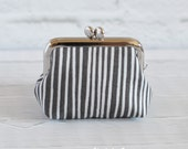 Small Frame Coin Purse Modern Gray and White Stripes Rosary Case Earbud Case Earbud Holder