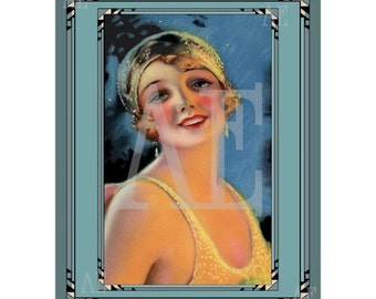 PR-125 Artistic Ephemera Print ~ One 8x10 or Two 5x7s ~ Art Deco Flapper Beauty Shop Ad