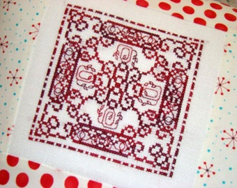 Red Flower Bloom Cross Stitch PDF Pattern