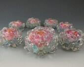 7 boro/borosilicate handmade artisan lampwork glass bead, Redside Designs, SRA