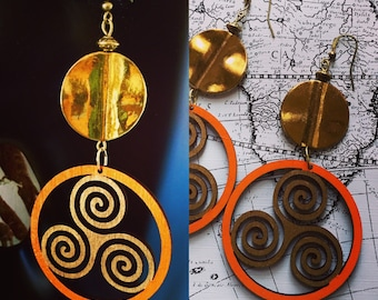 Afrocentric Earrings , Fashion, Wood, Spiral , Jewelry