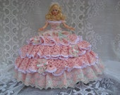 OOAK Pink and White Hand Crocheted and Imported Lace Barbie Bed Pillow Doll