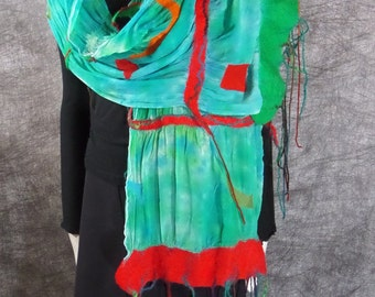 Nuno felted turquoise red silk woman scarf  with Australian merino wool