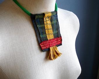 Broken Silence - iheartfink Handmade Hand Printed Textile Art Flowers Fabric Shield Fringe Wearable Art Necklace