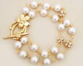 Bridal Gold Bracelet Pearl, Ivory Pearl Gold Bridal Bracelet, Gold Ivory Pearl Bracelet, Bridal Jewellery, Gold Jewelry, Romantic, STELLA
