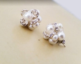 Wedding Earring Studs, Earrings Stud Pearl Rhinestone, Bridal Stud Earrings, Wedding Studs Pearl, Stud Earrings Handmade Weddings