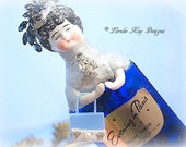 Aimee Evening in Paris Art Doll  Perfume Bottle Cobalt Blue  One-of-a-Kind Doll Lorelie Kay Original