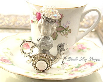 Olivia Teapot Art Doll  Original Art Doll Assemblage Tiny Teapot Mixed Media Doll Sculpture Lorelie Kay Original