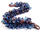 Cha Cha Style Bracelet, Montana Blue and Teal, White Glass Rhinestones, Copper Charm Bracelet, FREE Shipping U.S.