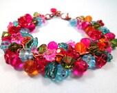 Flower Charm Bracelet, Rainbow Bouquet, Colorful and Copper Charm Bracelet, FREE Shipping U.S.