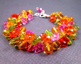 Flower Charm Bracelet, Tropical Bouquet, Colorful and Silver Beaded Bracelet, FREE Shipping U.S.