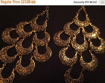 SALE Vintage Aged Brass Crescent Moon Long Earrings