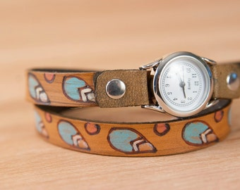 Ladies Leather Watch - Handmade Skinny Double Wrap Watch in the Petal pattern with modern leaves and flowers - Turquoise and Antique Brown