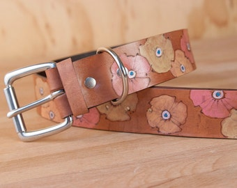 Leather Dog Collar - Handmade Large Breed Dog Collar with Poppies in Yellow, Orange, Pink and Mahogany
