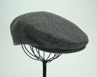 LAST 2!!! Grey Tweed with Brights Wool Men's Sixpence Hat -  Flat Jeff Cap, Ivy Cap, Driving Cap for Men, Women, and Children
