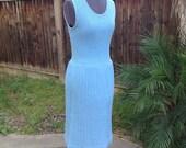 Vintage 60s baby blue knit pleated dress ~ sundress ~ mod