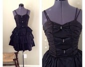 Vintage 80s black ruffle gothic lolita party dress ~ bows and rhinestones ~ goth ~ prom