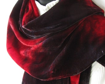 Hand Dyed Velvet Scarf in Oxblood Red and Gray Gift for Her Womens Fall and Winter Fashion Scarf Luxurious Velvet Scarf Womens Gift Silk