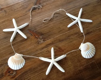 4' or 6' Large White Finger Starfish & Scallop Shell Garland / Coastal Shell Mantle Home Wedding Holiday Decor