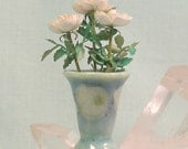 Miniature Sea and Sky Trumpet Vase with White Roses in 1:12 Dollhouse Scale