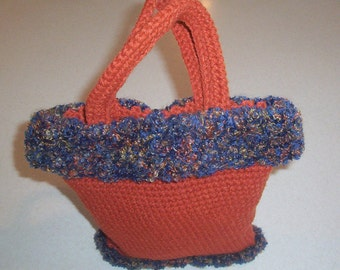 Hand Crochet Rust with Blue Multi-Color Trim Purse
