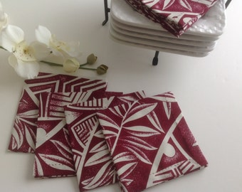 Dark Red and Ivory Fabric Napkins, Cocktail Napkins, Eco Friendly 100% Cotton Napkins, Appetizer Napkins - Hawaii - set of 8