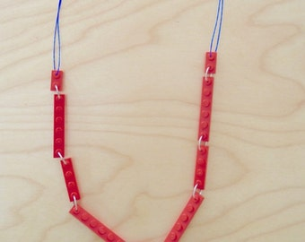 LEGO® Bricks necklace - BUILD COLLECTION - red and blue
