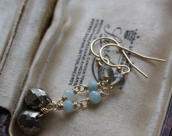 Long gold gemstone drop earrings - pyrite, amazonite & labradorite - briolette earrings