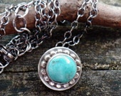 Hubei Turquoise Floating Coin Necklace ... sterling silver boho rustic turquoise jewelry dainty turquoise layer necklace