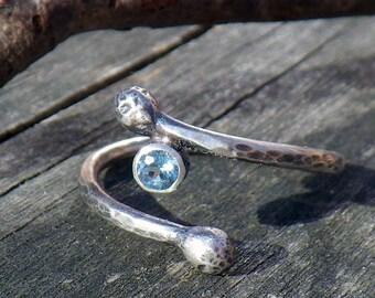 Swiss blue topaz sterling silver branch ring
