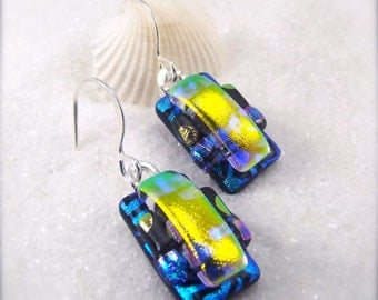 Dichroic glass earrings, fused dichroic jewelry, fused glass, Hana Sakura, dichroic glass beads, artistic earrings, trending now, dichroic