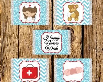 Nurses Week Brunette Mini Candy Bar Wrappers - Instant Download
