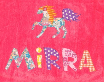 Personalized Large Pink Velour Beach Towel with Horse, Pool Towel,Camp Towel, Kids Bath Towel, Horse Party, Bridal Party Towel, Farm Party