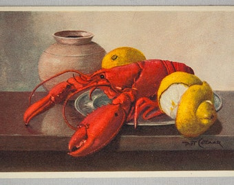 Vintage 1940's Unused Edition Stehli postcard of a Still Life with a Lobster from painting by Artist Piet Cottaar