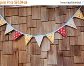 HALF PRICE Fabric Flag Bunting, Vintage Reproduction Banner Pennant Flags, Medium Flags, As Shown Party Decor, Photo Prop.
