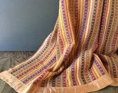 1940s Wool Blanket - Amana Fine Wool Blanket - Tribal Pattern Blanket