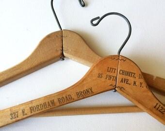 50s Advertising - Wooden Clothes Hangers - Set of 2 - Pants Hangers