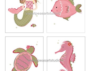 Mermaid Art, Seahorse, Sea Turtle Art Prints For Rose, Pinks, Olive Greens Bedding Decor, Mermaid Wall Decor, Choose 8 x 10 set size