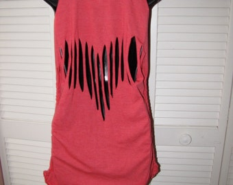red shredded work out body building Elmo Sesame St Street shredded ripped heart backless t shirt tank top tunic micro mini dress