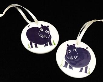 Hippo. Hippopotamus. Christmas Ornaments. Handmade by Sara Hunter Designs