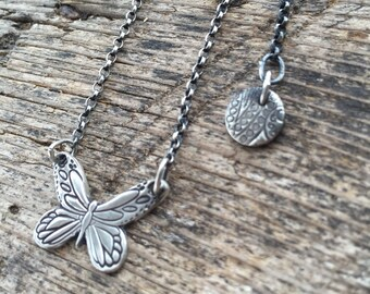 Metamorphosis necklace, handmade in eco friendly sterling silver, tiny butterfly on extendable chain