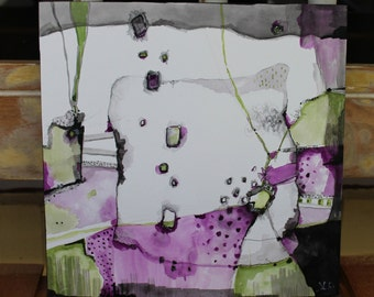 "New collection Zen Abstract 12 x 12 cradled board   Purple Green and Black ""Welcome To The Evolution""  by Jodi Ohl"