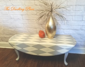 Antique Oval Double Drop Side Coffee Table, Hand Painted HARLEQUIN Pattern