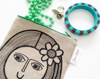 New Screen Printed Linen Girl With Flower Purse  / Bag / Pouch by Jane Foster