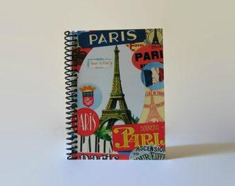 Paris Eiffel Tower, Travel Journal, Blank Notebook, Sketchbook, Writing Journal, Spiral Bound, Pocket Journal, Travel Gifts, A6, Notebook