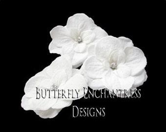 Wedding Hair Flowers, Bridal Hair Accessories, Rustic Wedding Hair Piece - SALE - 3 Rhinestone White Aubriella Flower Bobby Hair Pins