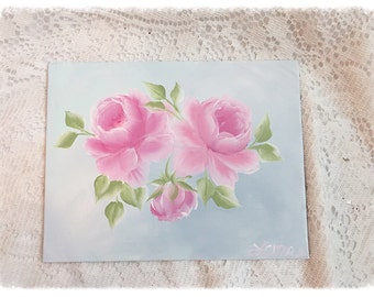 Hand Painted ART Pink Roses Canvas Board Painting 9x7 Shabby Chic ECS cst schteam SVFTeam