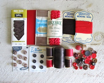 Assorted Vintage Red & Brown Sewing Supplies